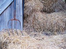 Iron rake, wooden door and rice straw. Royalty Free Stock Photos