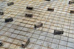 Iron Rebar, ready for concrete to be poured royalty free stock images