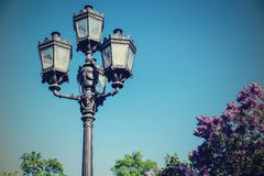 Iron retro streetlight against the sky Stock Images