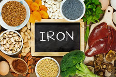 Iron rich foods. Collection iron rich foods as liver, buckwheat, eggs, parsley leaves, dried apricots, cocoa, lentil, bean, blue poppy seed, broccoli, dried Royalty Free Stock Photography
