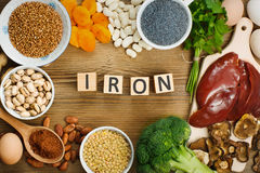 Iron rich foods. Collection iron rich foods as liver, buckwheat, eggs, parsley leaves, dried apricots, cocoa, lentil, bean, blue poppy seed, broccoli, dried Stock Photography