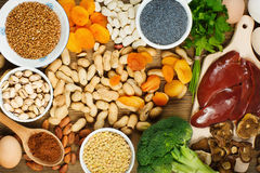 Iron rich foods. Collection iron rich foods as liver, buckwheat, eggs, parsley leaves, dried apricots, cocoa, lentil, bean, blue poppy seed, broccoli, dried stock photos
