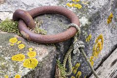 Iron ring, was seen in the little harbour of Lysekil. Sweden royalty free stock photo