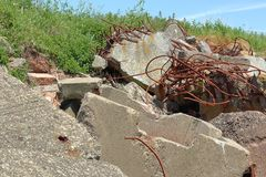 Iron rods in the ruins stock photo