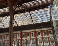 Iron roof in a station royalty free stock images