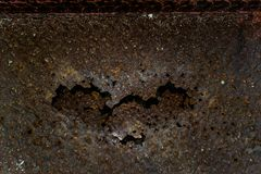 The iron rusted up, Steel rusty decay, The rusted steel is heart shaped. N Royalty Free Stock Photo