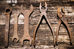 Free Iron Rusty Tools Working On An Old Wooden Stock Image - 56013191