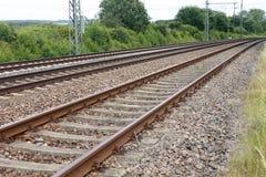 Iron rusty train railway detail dark stones. Traffic royalty free stock photos