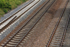 Iron rusty train railway detail dark stones. Traffic royalty free stock image