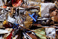 Iron scrap metal compacted to recycle. Green process ecology industry Royalty Free Stock Images
