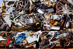 Iron scrap metal compacted to recycle. Green process ecology industry Royalty Free Stock Photo