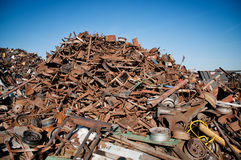 Iron scrap metal compacted to recycle Royalty Free Stock Photography