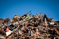 Iron scrap metal compacted to recycle Royalty Free Stock Photos