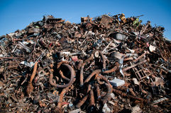 Iron scrap metal compacted to recycle. Green process ecology industry Royalty Free Stock Photography