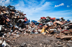 Iron scrap metal compacted to recycle. Green process ecology industry Stock Photography