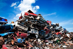 Iron scrap metal compacted to recycle. Green process ecology industry Stock Image