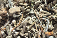 Iron screw nuts background Stock Images