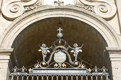 Iron sculpture on cathedral gate, Enna Royalty Free Stock Photography
