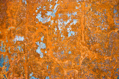 Iron sheet with rust. Color painted iron sheet with rust as background Royalty Free Stock Photo