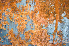 Iron sheet with rust. Color painted iron sheet with rust as background Stock Photos