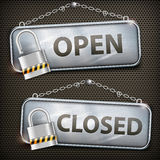 Iron sign hanging open closed Royalty Free Stock Images