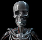 Iron Skull. With teeth in 3D Royalty Free Stock Photo