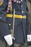 Iron spear on part of the parade uniform. Iron spear of gun  in a white  holding hand glove on the background  of the honor guard parade uniform  of the military Royalty Free Stock Image