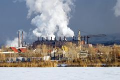 Iron and steel metallurgical Plant. In different views Royalty Free Stock Photo