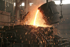 Iron and steel production scene Royalty Free Stock Photo