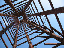 Iron structure. Structure made for a concrete tower - inside view Stock Photo