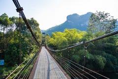 Iron suspension bridge for cross the river. Bridge stock images