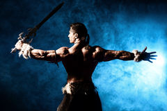 Iron sword. Portrait of a handsome muscular ancient warrior with a sword stock images