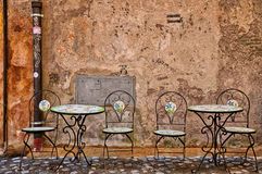 Iron talbes and chairs Stock Photos