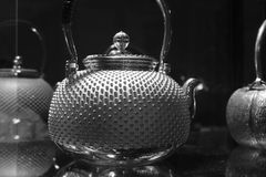 Iron teapot black and white image. Cast iron teapot is now very popular, and very expensive in china Royalty Free Stock Photos