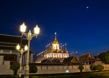 Iron temple Loha Prasat in Wat Ratchanatdaram Worawihan in night Stock Photos