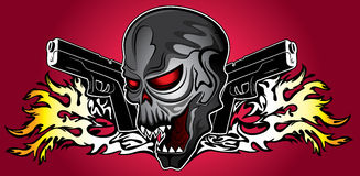 Iron terminator cyber human skull with pistols and fire flames background royalty free illustration