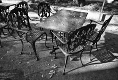Iron terrace forniture. Iron terrace Furniture on the street cafe Royalty Free Stock Photo