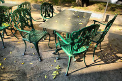 Iron terrace forniture. Iron terrace Furniture on the street cafe Stock Photography