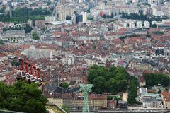 Grenoble Bastille cable car in France stock photography