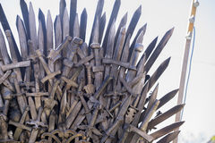 Iron throne made with swords, fantasy scene or stage. Recreation Stock Images