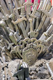 Iron throne made with swords, fantasy scene or stage. Recreation Royalty Free Stock Photography