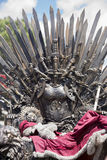 Iron throne made with swords, fantasy scene or stage. Recreation Stock Photo