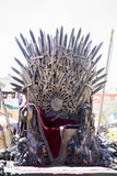 Iron throne made with swords, fantasy scene or stage. Recreation. Of a medieval seat Royalty Free Stock Photos