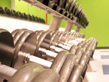 Iron to pump. Perspective shot of freeweights on the rack in a fitness center stock photography