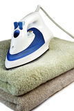 Iron with towels Royalty Free Stock Photography