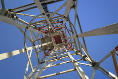 Iron tower from above. A telecommunications tower from above royalty free stock image