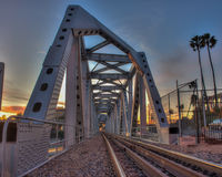 Iron tracks crossing the span Stock Photography
