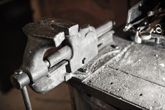 Iron Vice in Workshop Royalty Free Stock Photos