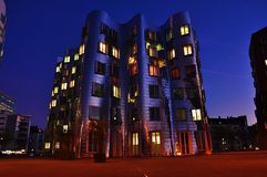 Iron wall building in Dusseldorf. With background of sky at night Royalty Free Stock Photos
