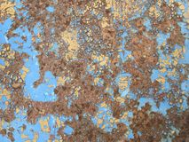 Iron wall with cracked old paint and rust royalty free stock photography